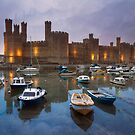 Wales- Caernarfon Castle Sunset by Celtic Mystery