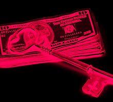 Skeleton Key On Pile Of American Money Pop Art by KWJphotoart