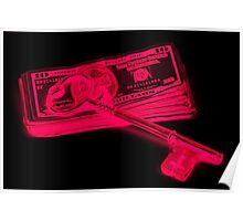 Skeleton Key On Pile Of American Money Pop Art Poster