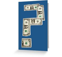 Question Mark of American Money Greeting Card
