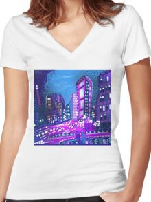 Welcome To The City Women's Fitted V-Neck T-Shirt
