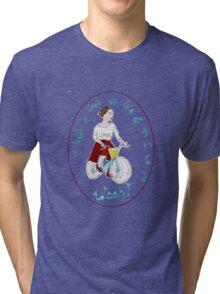 Joyful Brunette Bicyclist Tri-blend T-Shirt