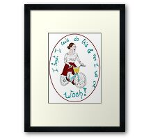 Joyful Brunette Bicyclist Framed Print