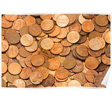 Pile of American pennies Poster