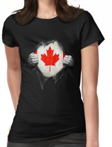 Canada Flag. Proud Canadian Womens Fitted T-Shirt