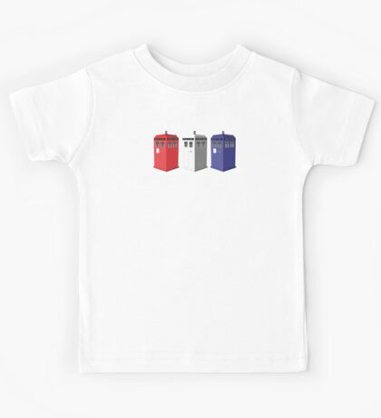 Whovian red, white and blue Kids Tee