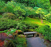 Bench, Japanese Garden, Butchart Gardens, BC by Thomas Barber