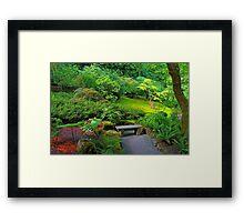 Bench, Japanese Garden, Butchart Gardens, BC Framed Print