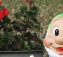 Happy Dwarf with Geraniums Sticker