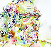 CHARLES BUKOWSKI watercolor portrait.3 by lautir