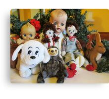 Group Photo of Old Characters at Christmas Canvas Print