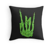 Skeleton hand | Green Throw Pillow