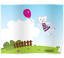 New flying cat with Baloon  Poster