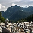 Cairn on the Carbon River - Mt. Rainier, N. P., WA by Mark Heller