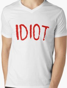 IDIOT Mens V-Neck T-Shirt
