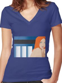 Blue Pond Pin Up Women's Fitted V-Neck T-Shirt