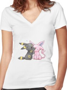 Umbreon and Espeon Women's Fitted V-Neck T-Shirt