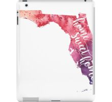 Florida Watercolor Map - Home Sweet Home Hand Lettering - Giclee Print of Original Art iPad Case/Skin