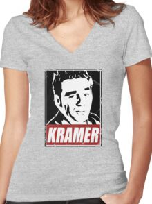 OBEY COSMO KRAMER Women's Fitted V-Neck T-Shirt
