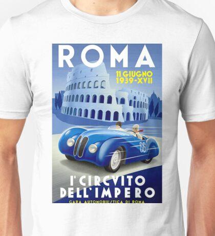 """ROMA VINTAGE GRAND PRIX"" Auto Racing Print Unisex T-Shirt"