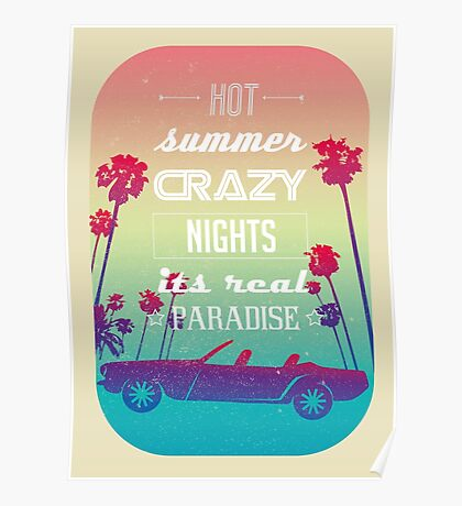 Wonderful tropical beach theme cabriolet Poster