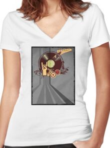 Rock Music Vinyl Record Collage 1 Women's Fitted V-Neck T-Shirt