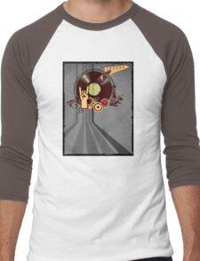 Rock Music Vinyl Record Collage 1 Men's Baseball ¾ T-Shirt
