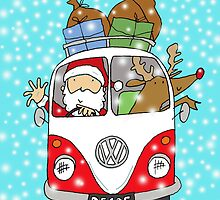 Santa and Rudolph in a VW Camper Van  by AndyLanhamArt