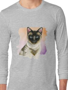 Siamese Cat Elegant Watercolor Painting Long Sleeve T-Shirt