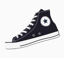 All Star Inspired Hi Top Retro Sneaker in Navy Blue One Piece - Short Sleeve