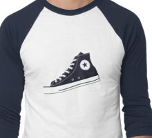 All Star Inspired Hi Top Retro Sneaker in Navy Blue Men's Baseball ¾ T-Shirt