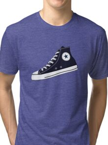 All Star Inspired Hi Top Retro Sneaker in Navy Blue Tri-blend T-Shirt