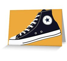 All Star Inspired Hi Top Retro Sneaker in Navy Blue Greeting Card