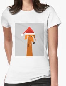 Dachshund Ready For Christmas  Womens Fitted T-Shirt