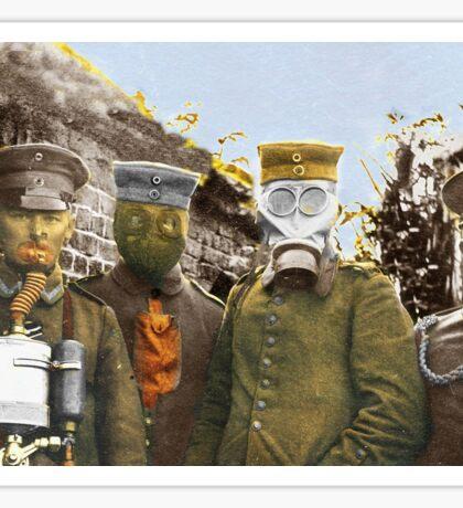 German Soldiers Modeling Gas Masks Sticker