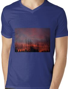 Backyard Fall Sunrise Mens V-Neck T-Shirt