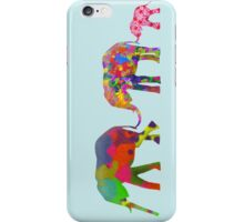 3 Colorful Elephants Holding Tails - Pop Art iPhone Case/Skin