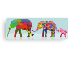 3 Colorful Elephants Holding Tails - Pop Art Canvas Print