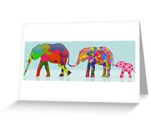 3 Colorful Elephants Holding Tails - Pop Art Greeting Card