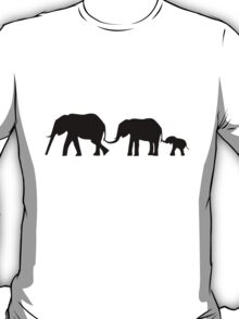 Silhouettes of 3 Elephants Holding Tails T-Shirt