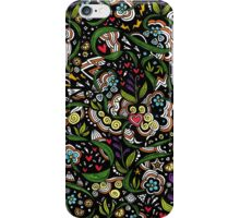 Black pattern with flowers iPhone Case/Skin