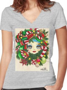 Wreath Women's Fitted V-Neck T-Shirt