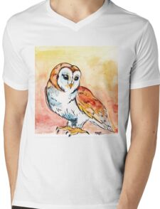 Watercolor Barn Owl Mens V-Neck T-Shirt