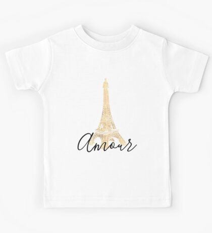 Gold Amour Eiffel Tower Kids Tee