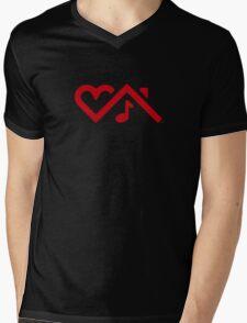 I Love House Music - RED Mens V-Neck T-Shirt