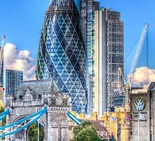 The Gherkin and Tower Bridge by DavidHornchurch
