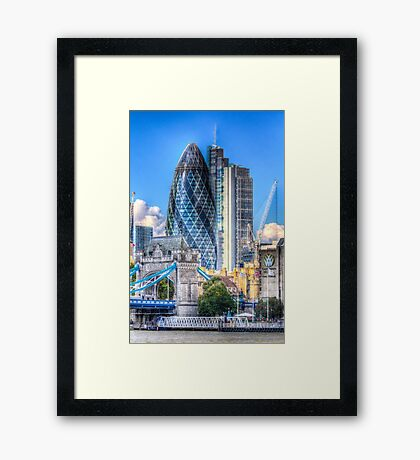 The Gherkin and Tower Bridge Framed Print