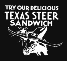 Texas Steer Sandwich - Retro Design Kids Tee