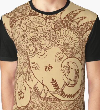 Ganesha Lineart Scroll Graphic T-Shirt