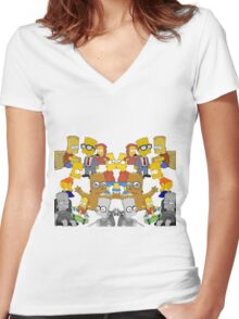 Bart Simpson Collage Women's Fitted V-Neck T-Shirt